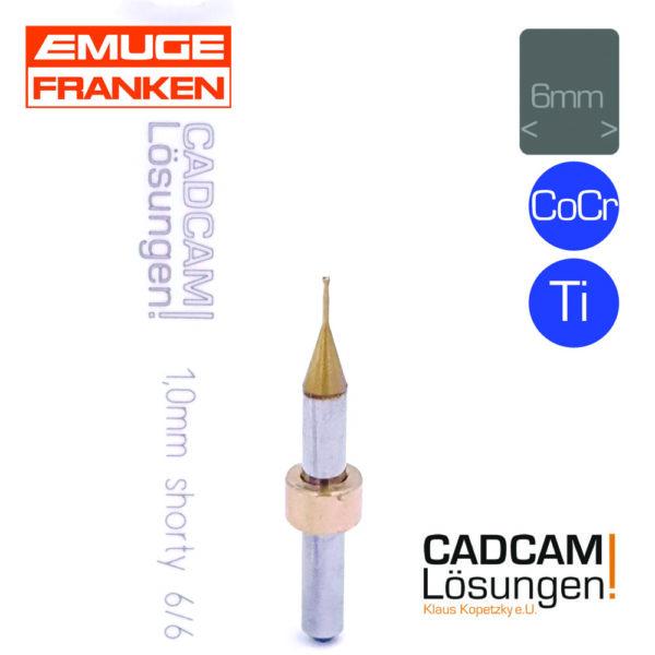 emuge 1.0mm 6mm bullnose torus fräser shorty l6mm titan cocr