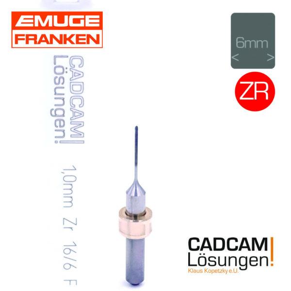emuge 1.0mm radiusfräser fräser l16mm diamantiert zirkon