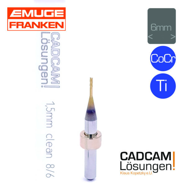 emuge 1.5mm 6mm flachfräser clean l8mm titan cocr
