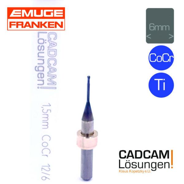 emuge 1.5mm 6mm radius fräser l12mm titan cocr