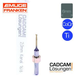 emuge 2.0mm 6mm fräser kanal l16mm titan cocr