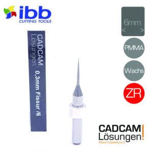 ibb 0,3mm 6mm milling tool fräser konisch fissur zr pmma wachs