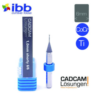 ibb 1.0mm 6mm milling tool bullnose torus fräser shorty 6mm titan cocr