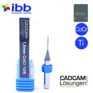 ibb 1.0mm 6mm milling tool radiusfräser 12mm titan cocr