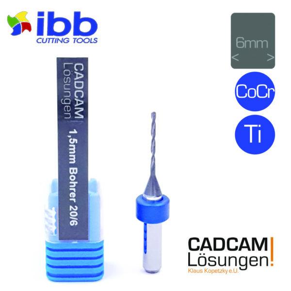 ibb 1.5mm 6mm drilling tool bohrer 20mm titan cocr