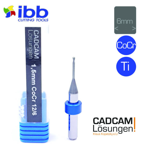 ibb 1.5mm 6mm milling tool radiusfräser12mm titan cocr