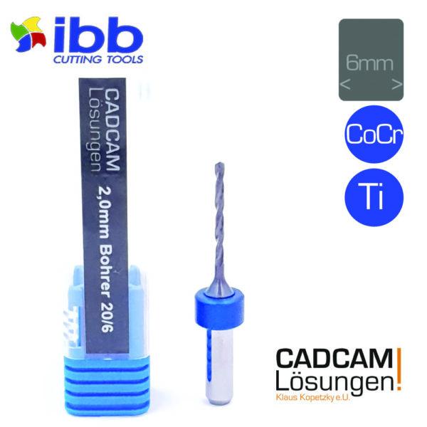 ibb 2.0mm 6mm drilling tool bohrer 20mm titan cocr