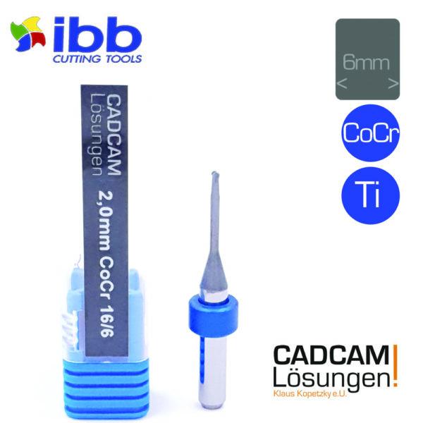 ibb 2.0mm 6mm milling tool radiusfräser 16mm titan cocr