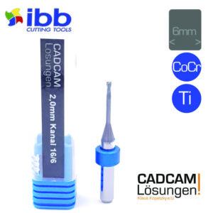ibb 2,0mm 6mm milling tool bullnose torus fräser kanal 16mm titan cocr