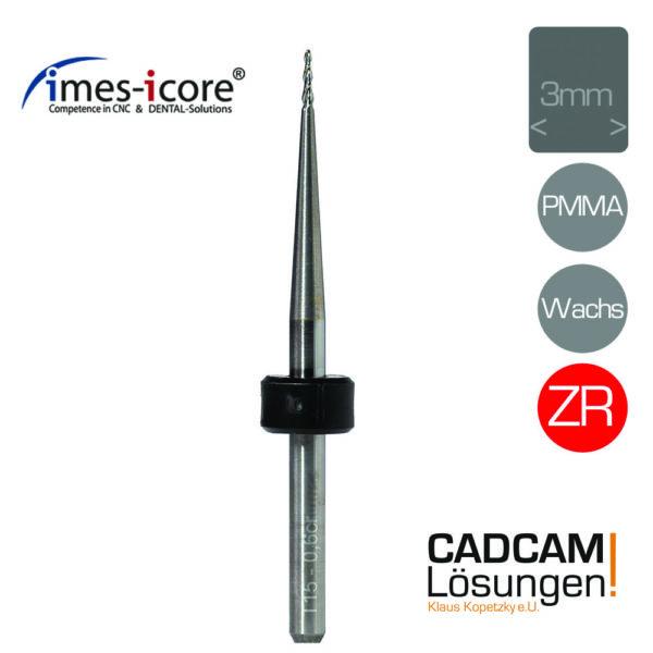 imes icore 0.6mm 3mm radius milling tool konisch pmma wachs zirkon fräser t15 t42 t52