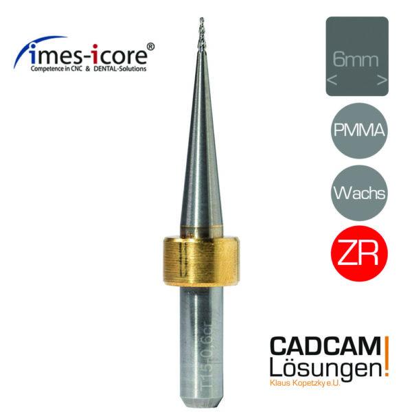 imes icore 0.6mm 6mm radius milling tool konisch fräser zirkon pmma wachs t15 t42 t52