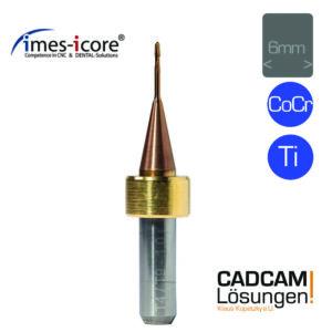 imes icore 1.0mm 6mm radius milling tool short l9mm titan cocr t4 t9
