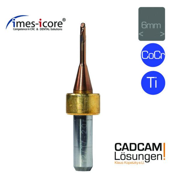 imes icore 2.0mm 6mm radius milling tool short l12mm fräser titan cocr t2 t7