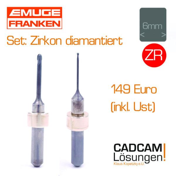 emuge 2.5mm 1.0mm zirkon fraeser diamantiert grob fraserset